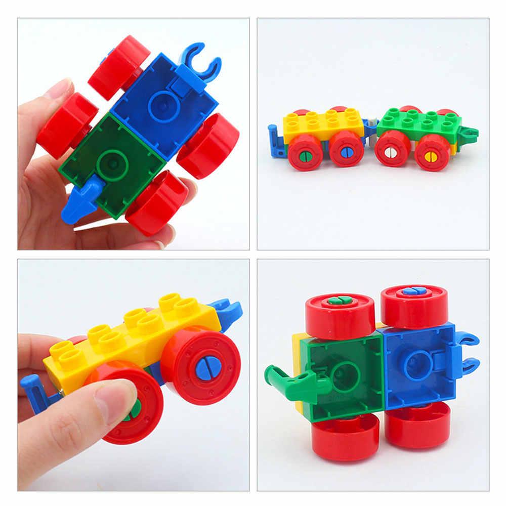Legoingly Duploed de dibujos animados locomotora coche remolque de barco cifras grandes partículas de bloque de construcción accesorios juguetes para los niños