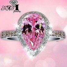 YaYI, модное женское Ювелирное кольцо, 4CT, розовый циркон, серебряный цвет, обручальные кольца, свадебные кольца, вечерние кольца, подарки