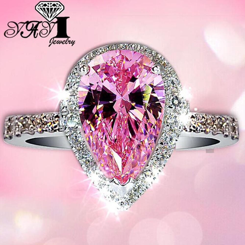 YaYI Fashion Women Jewelry Ring 4CT Pink Zircon Silver Color ...