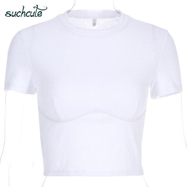 SUCHCUTE, camiseta para Mujer, Top corto, camisa Blanca, correa De Mujer, De Moda De verano 2019, Polera Blanca, Moda informal De estilo coreano para Mujer 3
