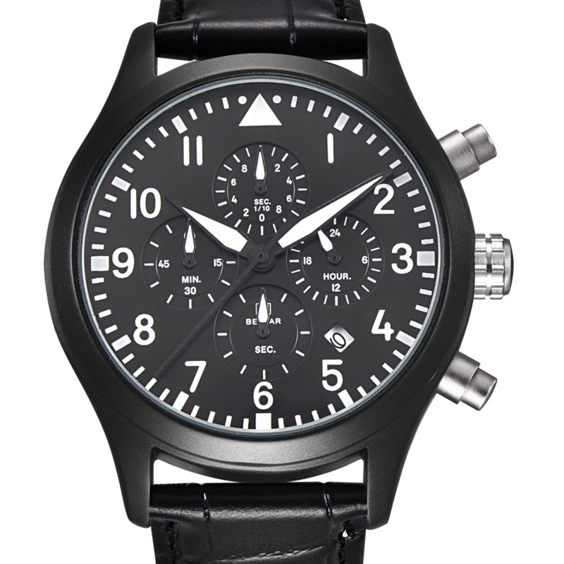 BENYAR Luxury Brand Analog Date Men's Quartz Watch Japan Movement Dive 30M Leather Fashion Casual Watch Cock Relogio Masculino