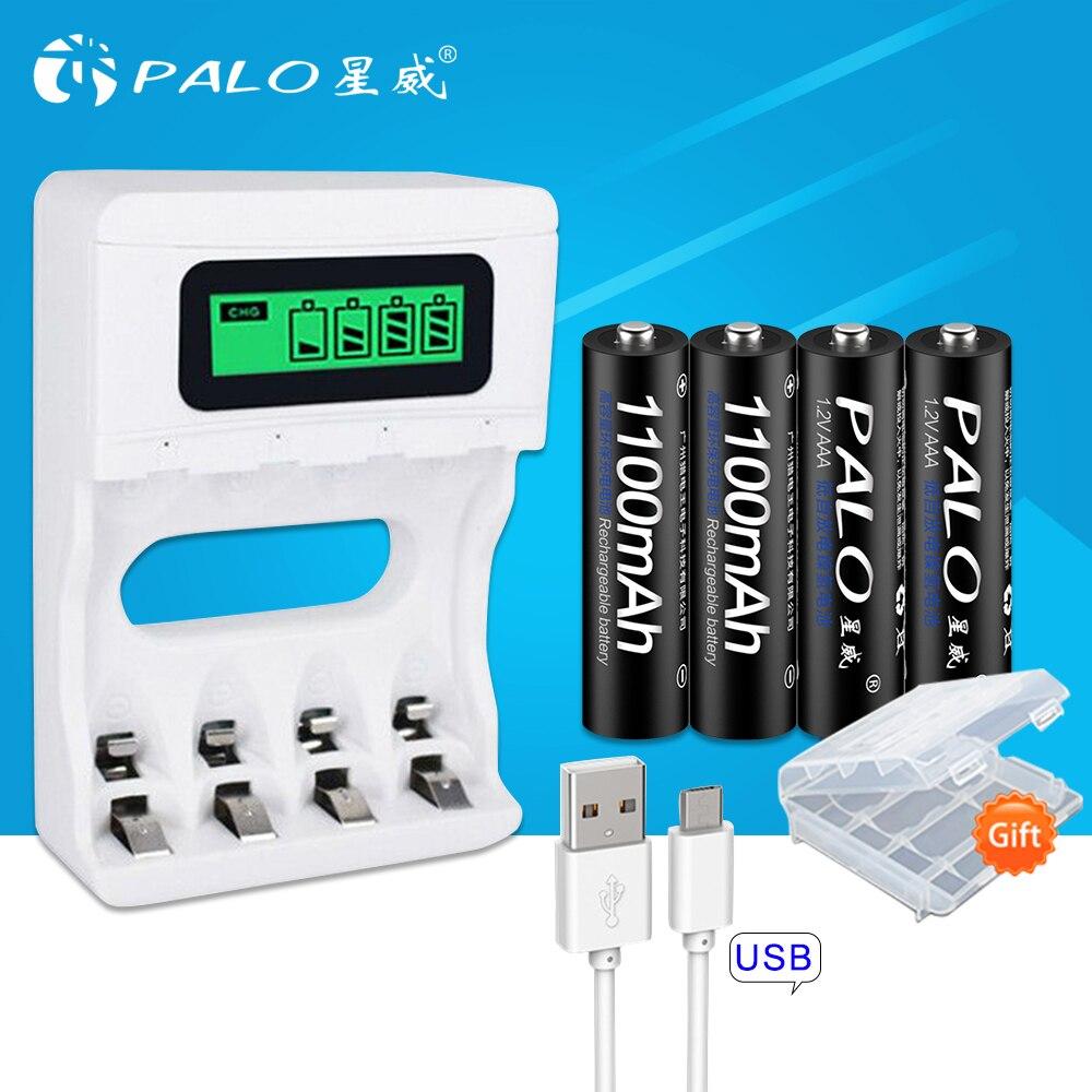 PALO inteligente LCD USB cargador de batería para baterías NiCd NiMh AA AAA batería recargable + 4 piezas 1,2 V 1100 mah de la batería AAA