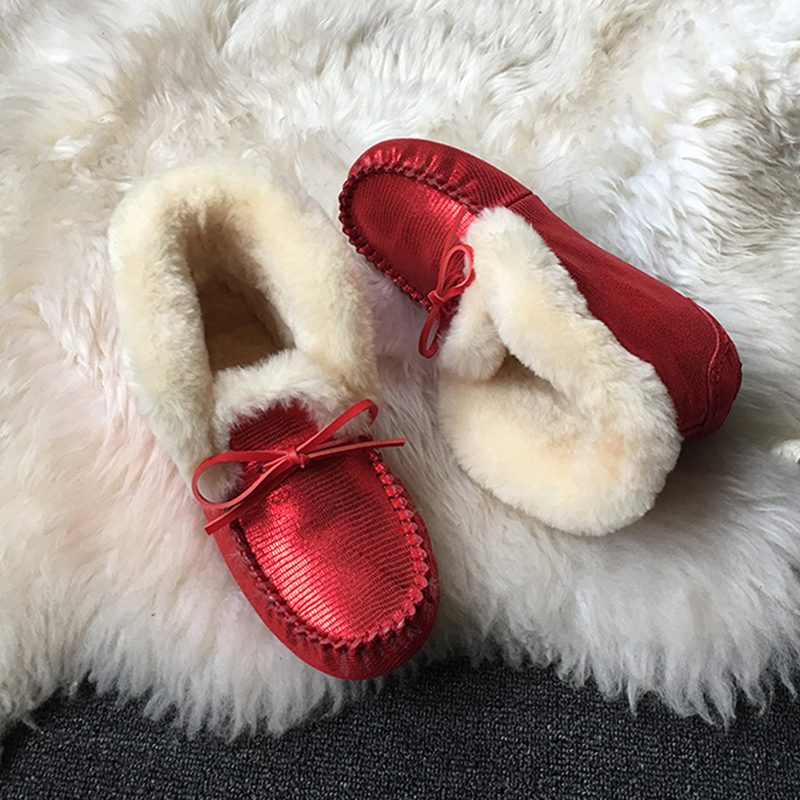 Chaussures Casual Fourrure pink Femmes Rose pink Mode Cuir 100 Véritable red Naturel Femme Mocassins En black white Confortable Red wXp8qI
