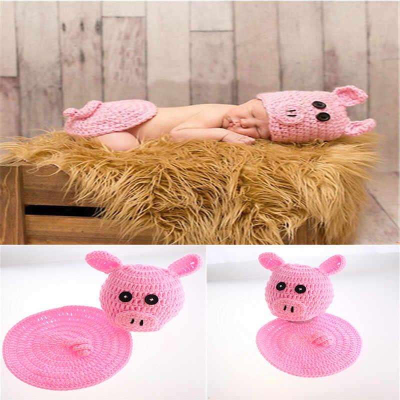 3dac99a3a Lovely Pink Pig Designs Newborn Girls Crochet Photo Props Knitted ...