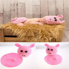 Beau cochon rose conçoit des filles nouveau-né au Crochet accessoires Photo tricoté infantile bébé dessin animé Costume chapeau mais ensemble de couverture filles tenue(China)