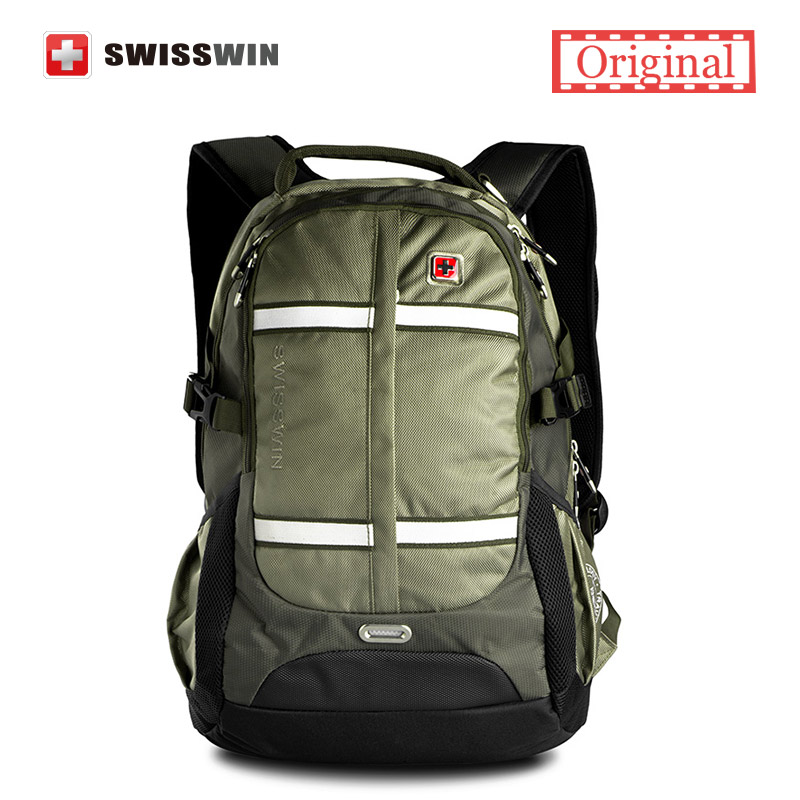 Swisswin Laptop Backpack Men 13-15 Computer Backpack Stylish Male Backpack Large Capacity Travel Backpack Music Sac a dos Green