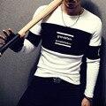 T4384 95% Хлопок Мужчины Полный Рукав Футболки О Шеи печать Мужские Футболки Мода 2016 Hombre Camisetas Футболку Homme