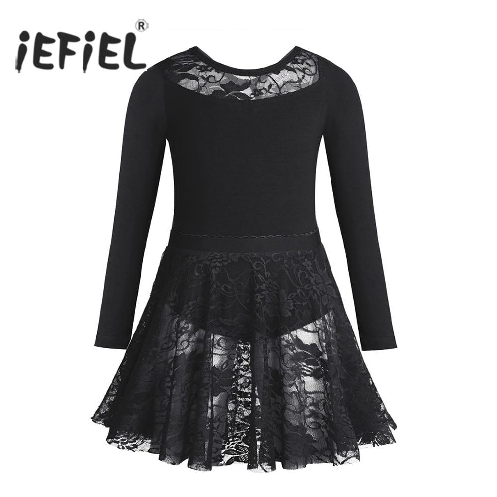 iEFiEL Ballet Tutu Costumes for Girls Long Sleeves Dancewear Class Gymnastics Leotard Kids Tutu Skirt + Bodysuit Fancy Ballerina