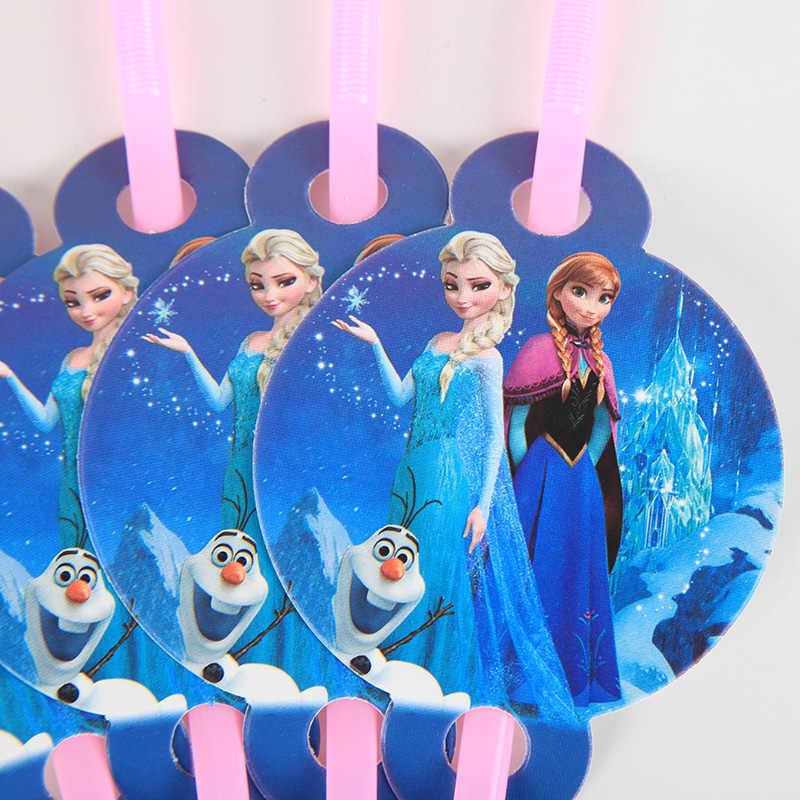 10 pçs/lote Palhas Fontes Do Partido do Aniversário Dos Miúdos Meninas Congelado Princesa Tubo De Palha Favores da Festa de Casamento Decoração