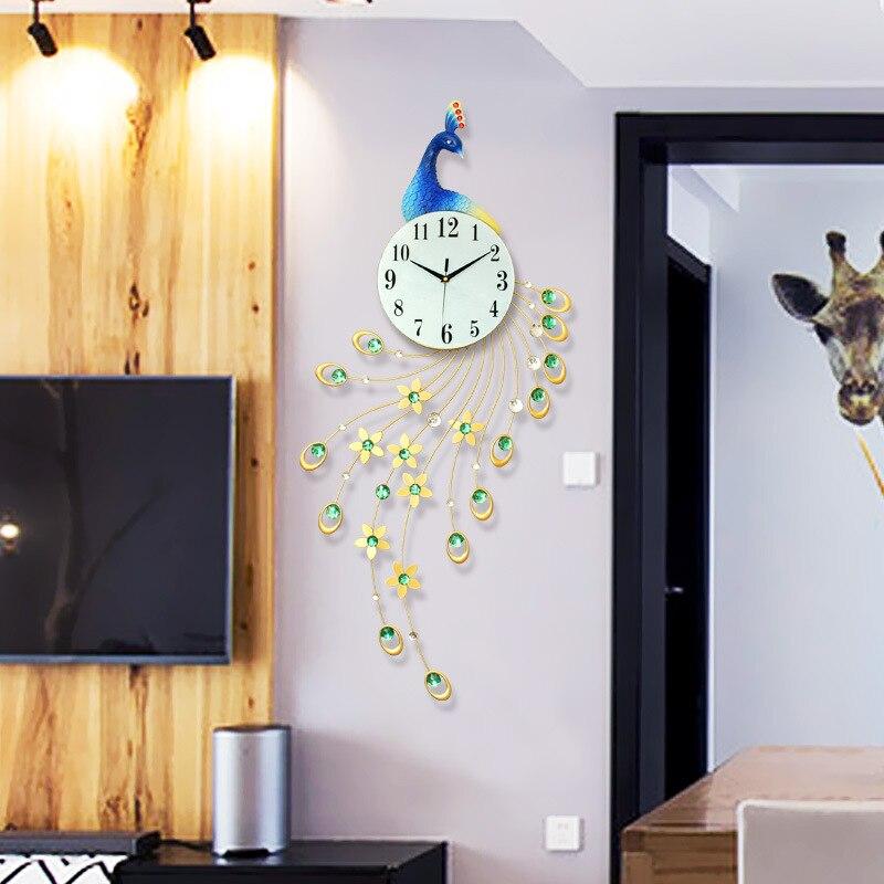 Peacock Creative Living Room Wall Clock Mute Clock European Modern Minimalist Home Clock Fashion Decoration Quartz Clock Heat
