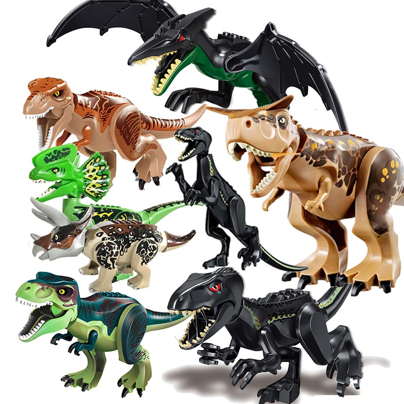 цена Legoings Jurassic World 2 Tyrannosaurus Rex Building Blocks Jurassic Dinosaur Figures Bricks Toys Collection Toy