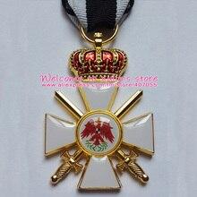 XDM0051 немецкий Орден Красного орла 3-го класса с мечом и короной прусского Королевского Ордена Золотой плакированный с черно-белой лентой