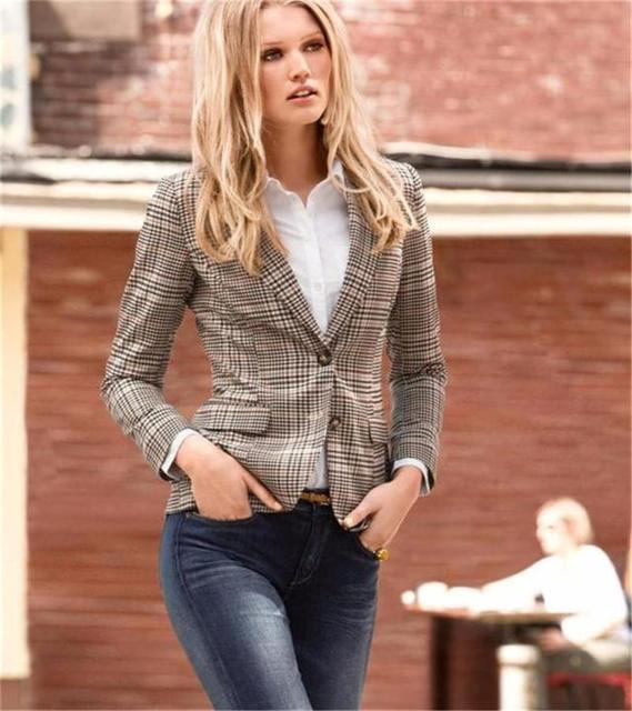 2016 New Stylish Women Blazer Fashion Plaid Elbow Patches Two Button Fit Blazer Ladies Autumn Suits Basic Jacket Casual Blazer