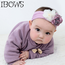 Chiffon Flowers Headband For Baby Girls Wide Elastic Nylon Hair Band Solid Earband Turban Headwrap Newborn Accessories