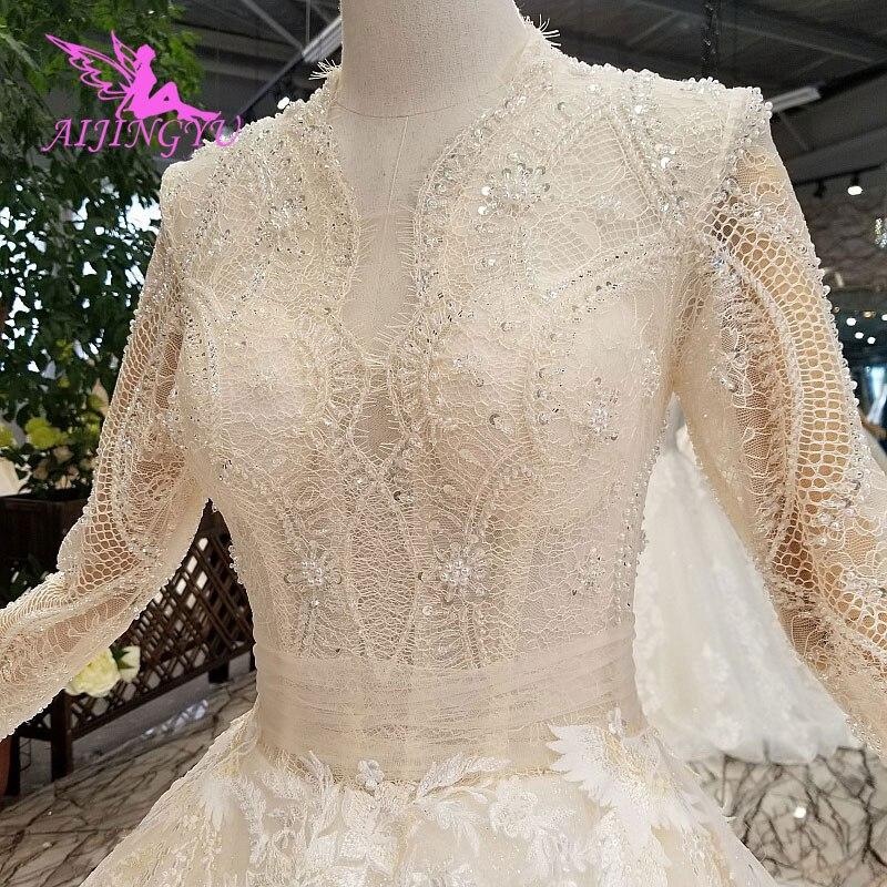 AIJINGYU Hi Low Dresses Elegant Gowns For Wedding Top Short Shops Pearl Vintage Sexy Muslim Bridal American Wedding Dress