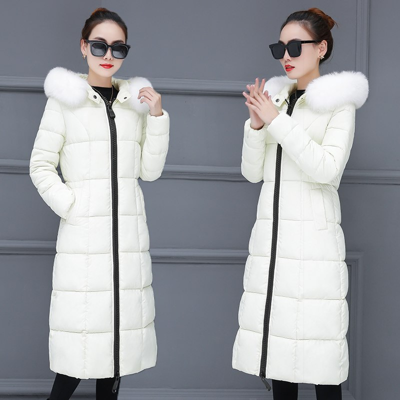 Winter Jacket Women Big Fur Hooded   Parka   Long Coats Cotton Padded Ladies Winter Coat Women Warm Thicken Jaqueta Feminina Inverno