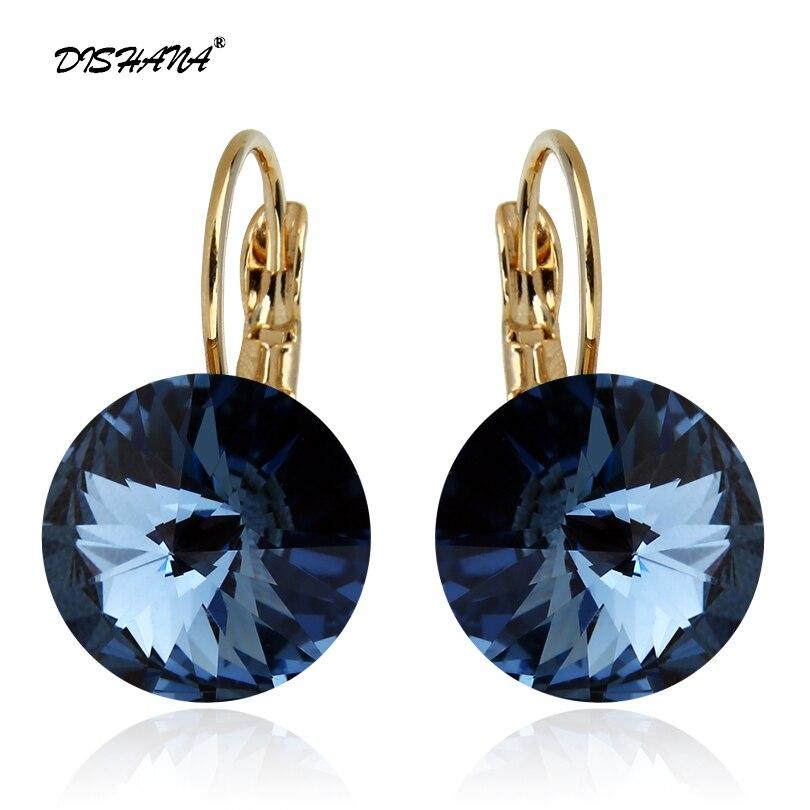 Mode Boucles D'oreilles 2015 Nouveau Femmes Cadeau Balancent Boucle D'oreille 14mm Super Grand Cristal Bijoux Boucle D'oreille Élégant Boucles D'oreilles (E0097)