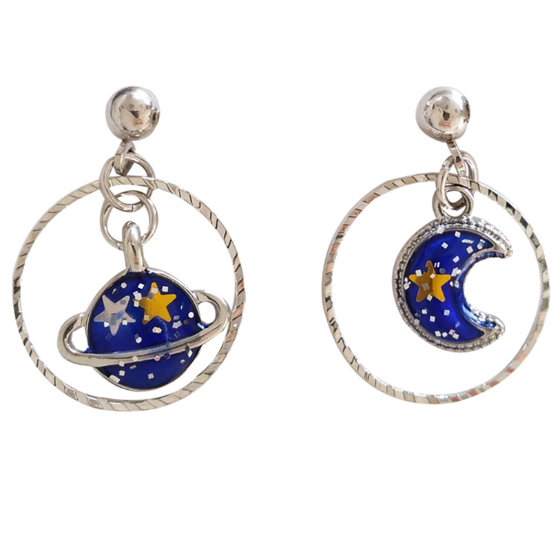 Fashion Saturn Star Blue Earring Classic Metal Stars Moon Blue