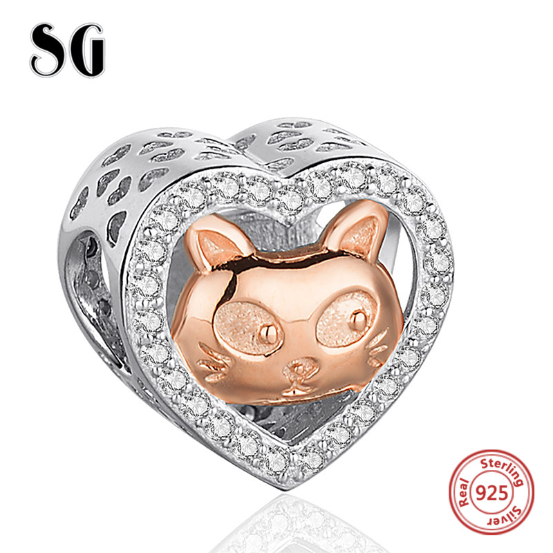 925 Silver Love Heart rose gold color cat Beads Charms with CZ Fit Authentic pandora Bracelets DIY Jewelry making For Lover Gift