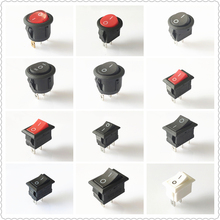 цена на SPST KCD1 2PIN 3PIN On/Off Round/Square Boat Rocker Switch DC AC 6A/250V Car Dash Dashboard Plastic Switch Dropshipping