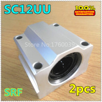 Free Shipping 2pcs SC12UU SCS12UU Linear Bearing 12mm Linear Ball Bearing Pillow Block Linear Unit For