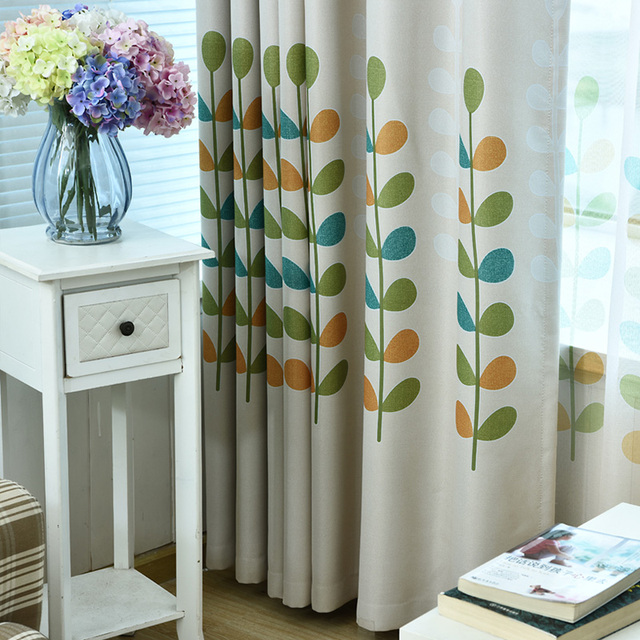 Child Cartoon Leaves Curtains Window Curtains Baby Room Finished ...