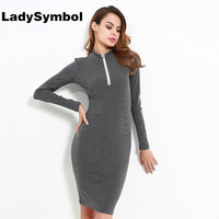 LadySymbol Sexy Knitted Bodycon Dress Women Winter Long Sleeve Slim Gray Casual Dress Elegant Short Party