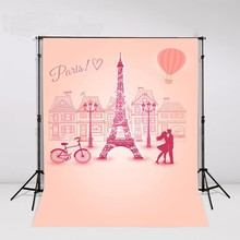 Rosa Paris Torre Eiffel Balão de Ar Quente Da Bicicleta Fundos temáticos Vinil backdrop Computador impresso bebê recém-nascido de pano de Alta qualidade
