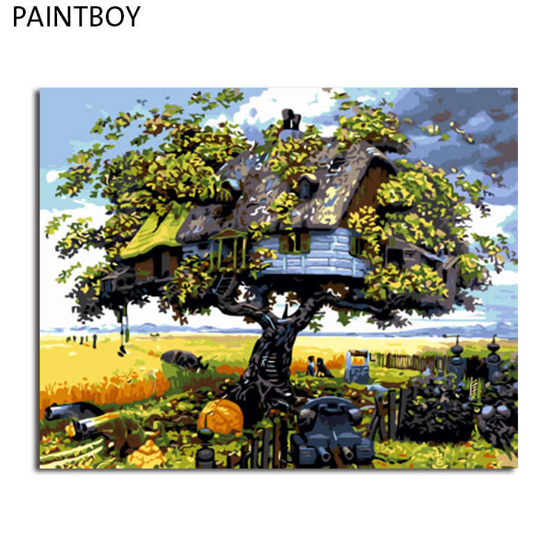 PAINTBOY Framed Pictures Painting By Numbers Wall Art Of Landscape DIY Canvas Oil Painting Home Decor For Living Room