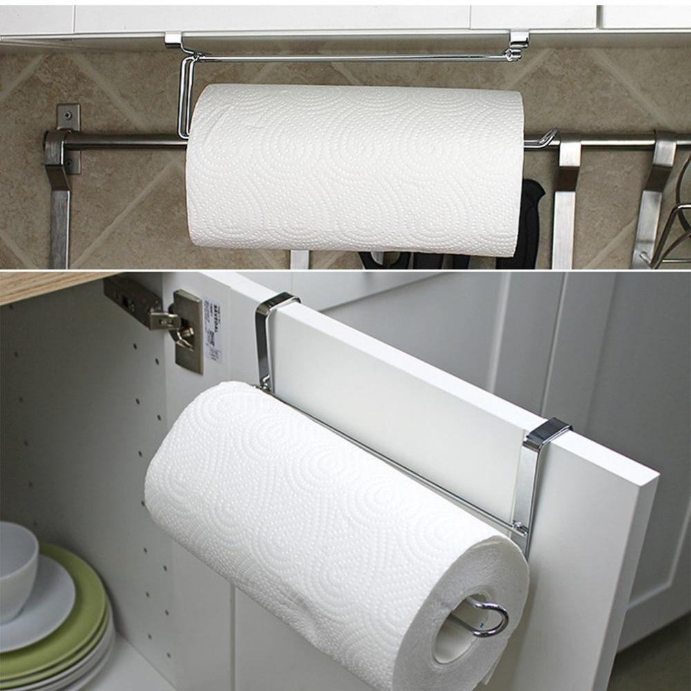 Stainless Steel Kitchen Closet Tissue Hanging Hook Holder Bathroom Roll Paper  Holder Towel Rack Modern Design