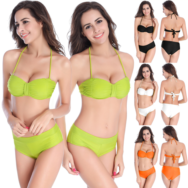 2018 Summer New Womens Sexy Topless Bikini Set Push Up Bra Sexy Pleats Sling Swimsuit Hot Brazilian Biquini Beach Costume