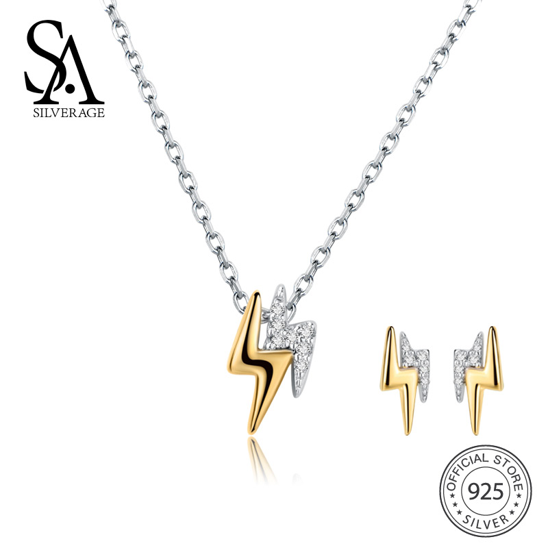SA SILVERAGE 925 Sterling Silver Lightning Stud Earrings Necklaces Jewelry Sets AAA Zirconia 925 Silver Earrings