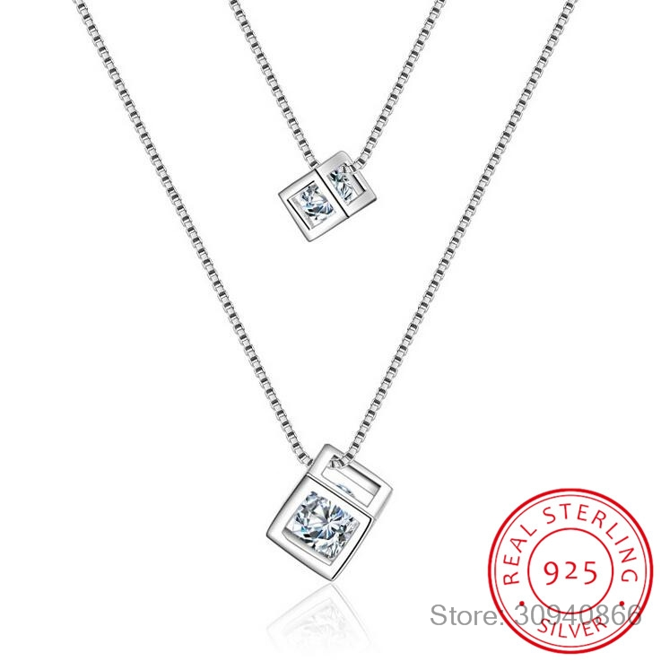 925 Sterling Silver Square Cube Zirconia Choker Statement Necklace For Women Double Layer Pendants & Necklaces S-N209