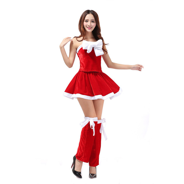 2017 Top Fashion Women Sexy Santa Christmas Costume Fancy Dress Xmas Office  Party Outfit red dress vestido de festa ropa mujer 23018c8a2cde