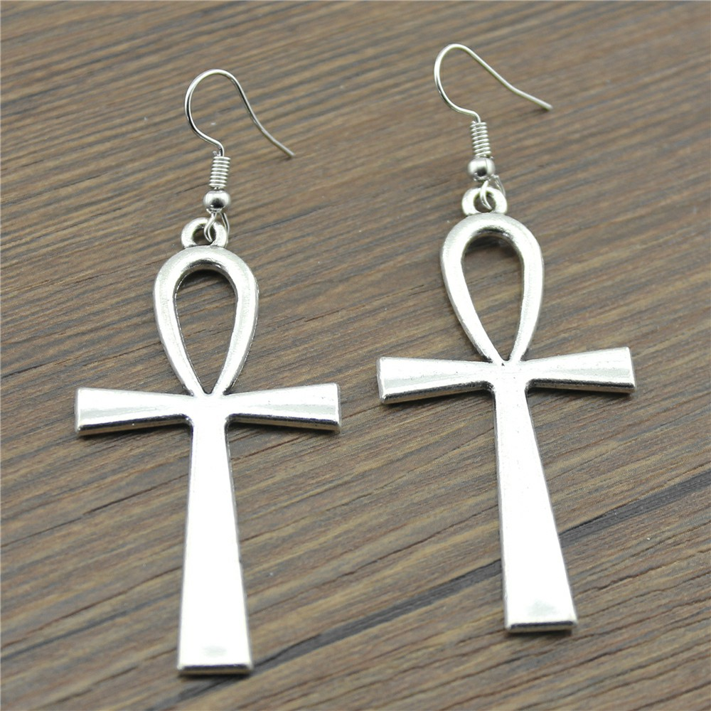 WYSIWYG 2 kleuren Big Size 52x28mm eenvoudige Ankh Cross charme Dangle Earring, charmante Drop Earring vrouwen Dropship leveranciers