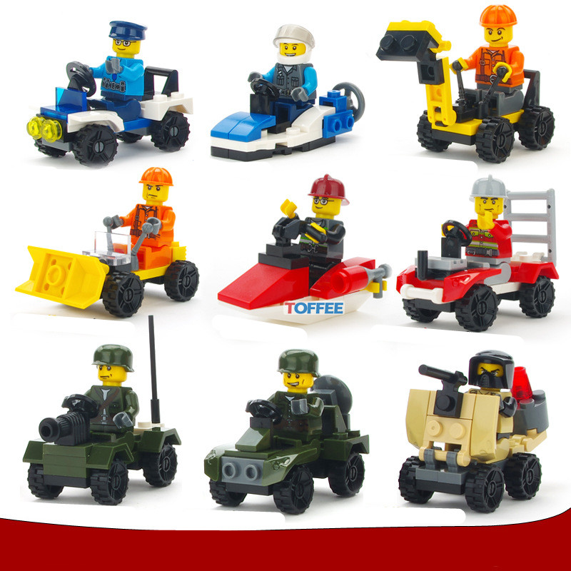 236pcs 9 Cars CITY Military Police Construction Team Fire Rescue Technic Mini Building Blocks Brick Figure Gift Toy Boy Children 874pcs fire station city rescue truck fireman firefighting helicopter technic mini building blocks figures toy for boys children