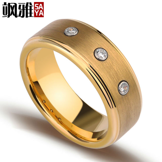 New Arrival 8mm Width Tungsten Man's Rings Gold Plating With Three CZ Stones for Engagement Free Shipping and Gift Box Size 7-11