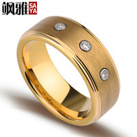 New Arrival 8mm Width Tungsten Man's Rings Gold Plating With Three CZ Stones for Engagement Free Shipping and Gift Box Size 7 11