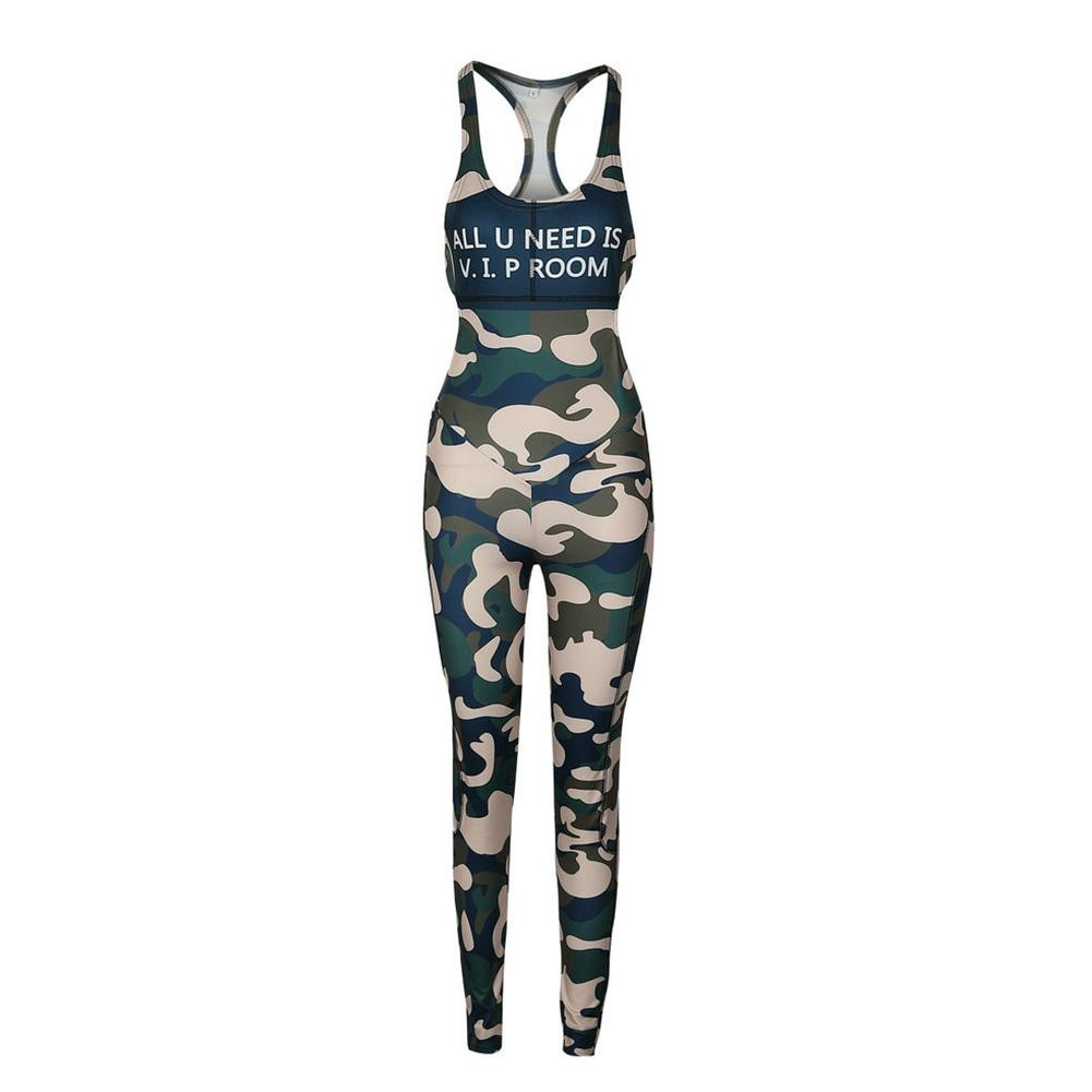 Tracksuit for Women Camouflage Fitness Yoga Set Painting Print Running Set Back Cross Bandage Sportwear Gym