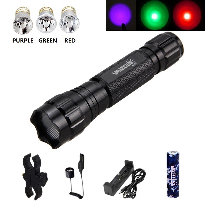 Outdoor Camping Tactical Green Red Light LED Night Hunting Flashlights Hot Sale