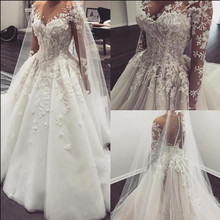 SexeMara Dubai Wedding Dresses with Lace 3D Bridal Gowns