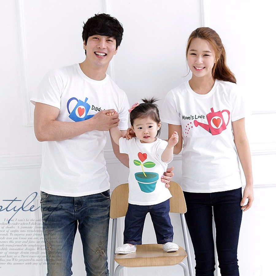 Famli 1pc Father Daughter Matching T-shirts Summer Family Casual Short Sleeve Print Cotton Tshirt Clothes Mother Son Tee Outfits ...