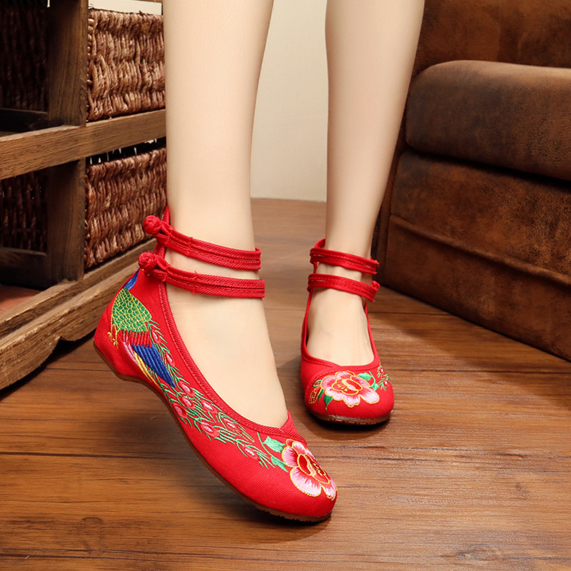 Cola Pekín China green blue Viejo Adultos Boda Zapato color Zapatos black Qipao Fénix red Bordado Plano Roja Beige Mujeres 5 5nPU01fU