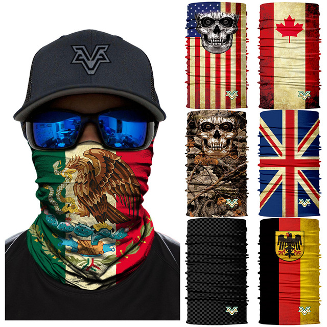 3D Seamless Bandana Scarf Cycling Neck Gaiter Windproof Headband Mexico Spain Canada Country Flag Face Shield Ciclismo Bandanas