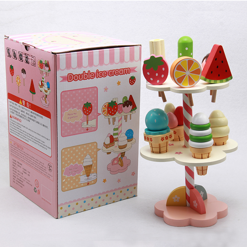 New Hot Wooden Toys Simulation Pretend Play Toy Colourful Kitchen Set Magentic Ice Cream Food Birthday Christmas Gift New Year