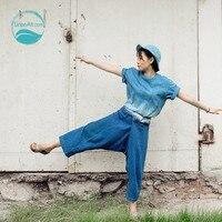 LinenAll Индиго античный с синей эмалью повседневные брюки 100% льняные брюки и окрашенные растениями широкие брюки длиной до щиколотки Свободны