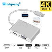Windyoung USB 3.1 USB C Type C to 4K HDMI VGA DVI USB 3.0 Adapter Cable 4 in 1 for Google Chromebook Pixel Laptop Apple Macbook dzlst 4 port usb type c 3 1 multiport adapter usb c to usb 3 0 usb c hub metal high speed 4 in 1 for macbook google chromebook