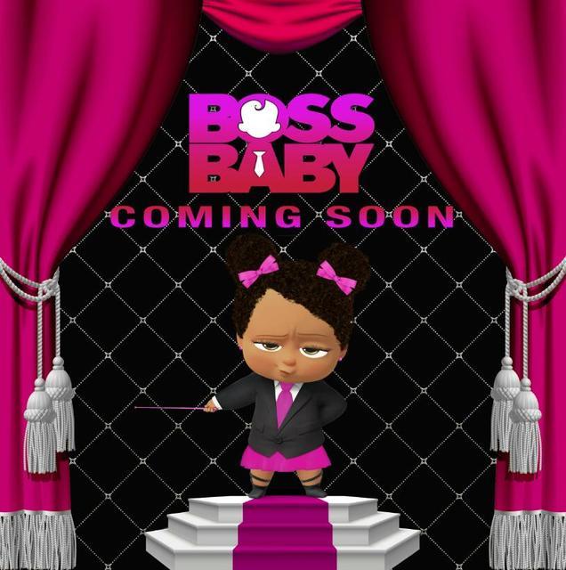 Boss Baby Girl Baby Shower Cartoon Happy Birthday Photo