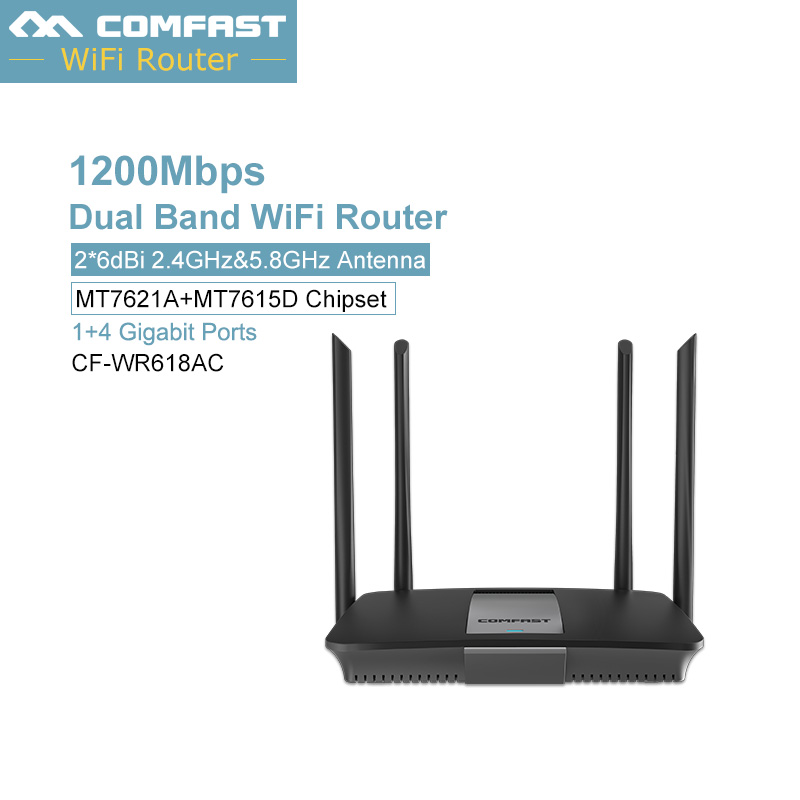 comfast 1200Mbps Gigabit WiFi Router 2.4G 5GHz WiFi Repeater 128MB DDR 1*10/100/1000 Lan Wan USB 2.0 Dual Band Wireless Router цена