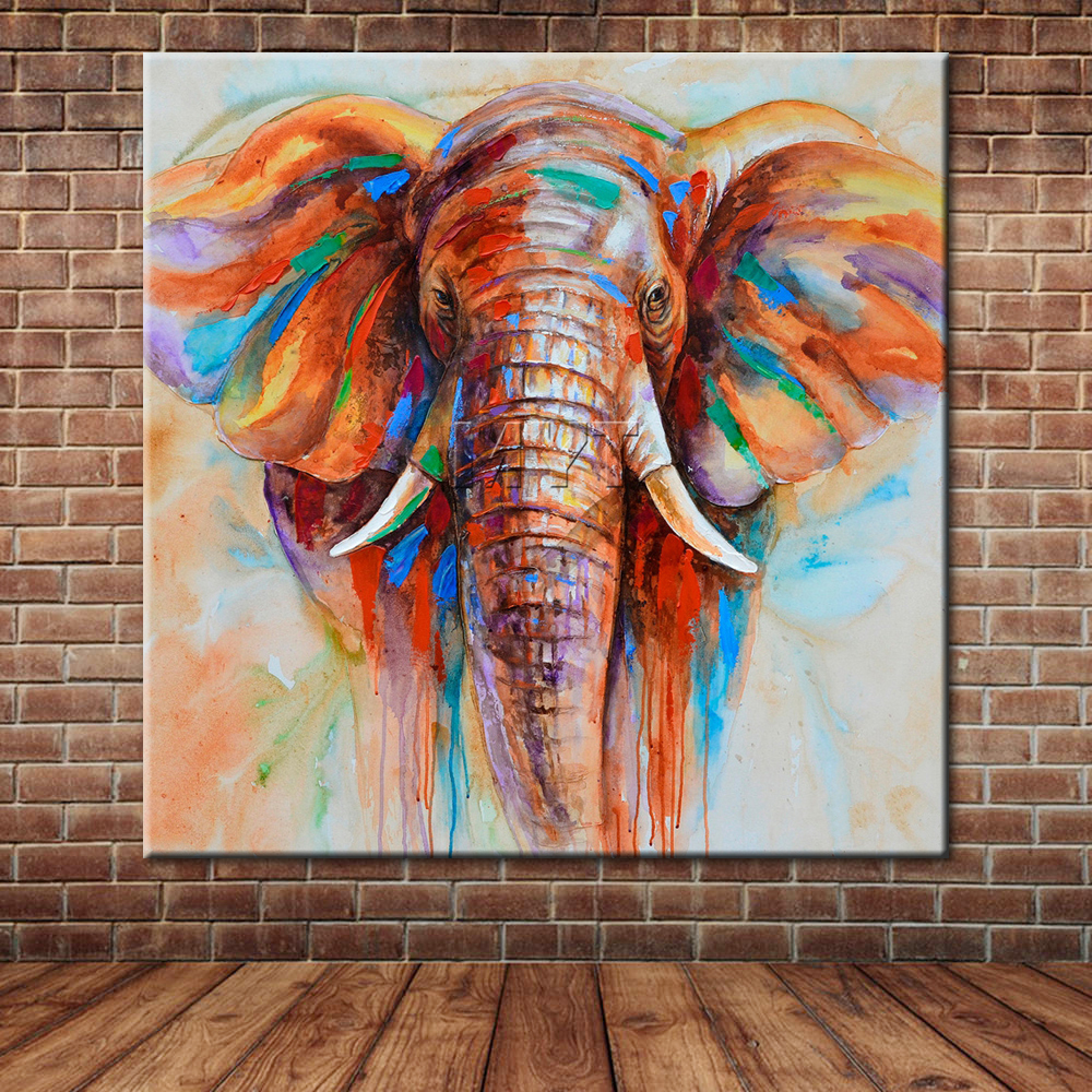Abstract African Elephant Oil Painting Large Animal Wall